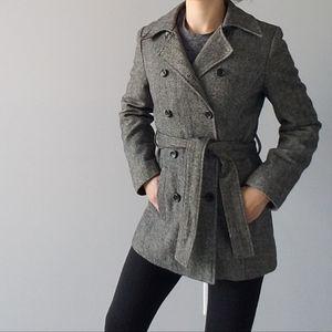 Tweed Wool Gray Black White Blazer Trench Jacket